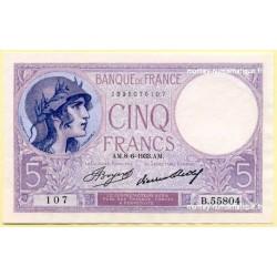 5 Francs Violet 8-6-1933 B.55804