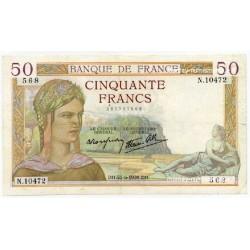 50 Francs Cérès 22-6-1939 N.10472