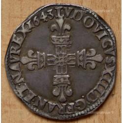 Louis XIII 1/4 écu 1643 K Bordeaux frappé au marteau