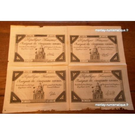 Planche 4 assignats 50 livres 1792 Série 5309