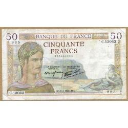 50 Francs Cérès 4-4-1940 C.13063