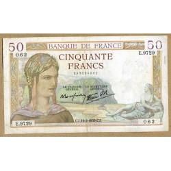 50 Francs Cérès 16-2-1939 E.9729