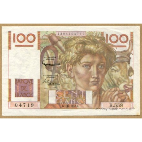 100 Francs Paysan 1-10-1953 R.558 Filigrane inversé