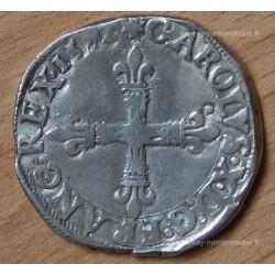 Charles X Quart Ecu 1592 T Nantes croix de face