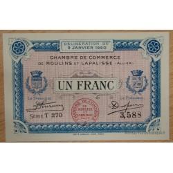 Moulins et Lapalisse (03) 1 Franc 9 janvier 1920 Série T 270