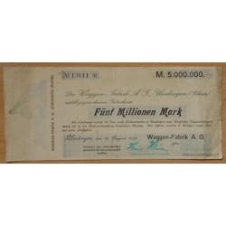 Allemagne - 5 million de Mark 1923 Uerdingen Waggon-Fabrik