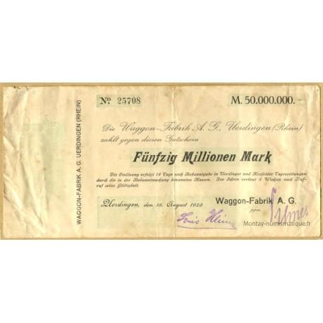 Allemagne - 50 million de Mark 1923 Uerdingen Waggon-Fabrik