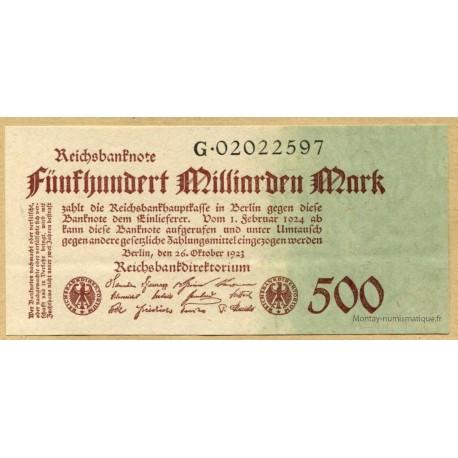 Allemagne - 500 Milliard de Mark 26 octobre 1923 Reichsbanknote