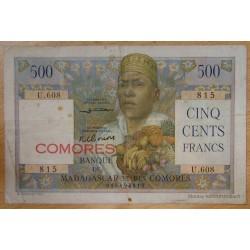 """Les Comores - 500 Francs surchargé """"Comores"""" sans date ( 1950)"""
