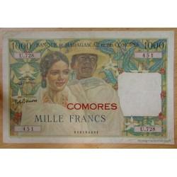 """Les Comores - 1000 Francs surchargé """"Comores"""" sans date ( 1963)"""
