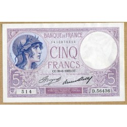5 Francs Violet 29-6-1933 D.56436