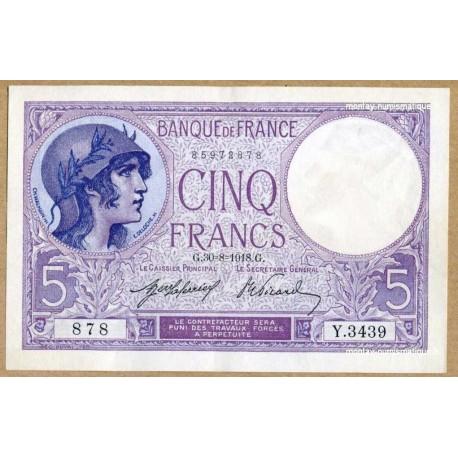 5 Francs Violet 30-8-1918 Y.3439