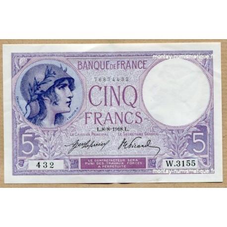 5 Francs Violet 8-8-1918 W.3155