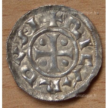 Denier Richard Ier (942-996) fronton sans point Normandie